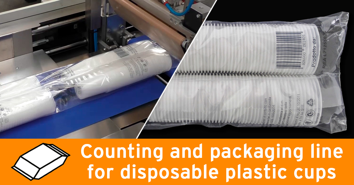 Video - Counting and packaging line for plastic cups